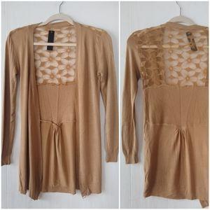 C Mode • tan lace back long duster cardigan